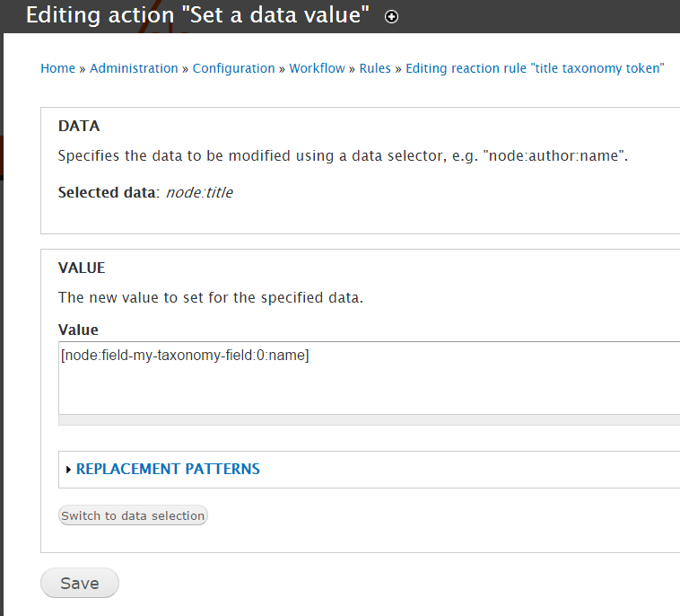 'Rules Set Value'